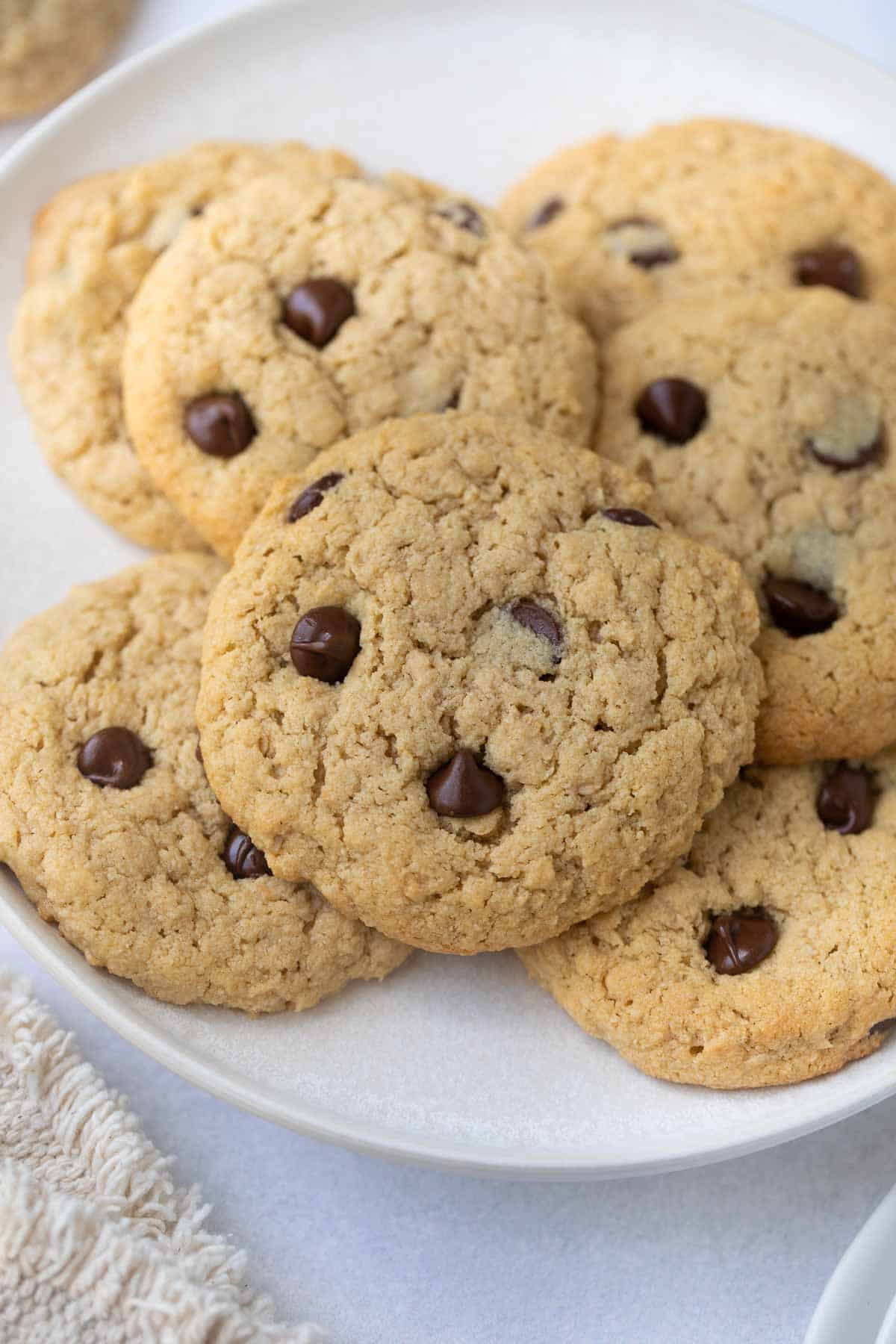 up close shot of cookies on white plate