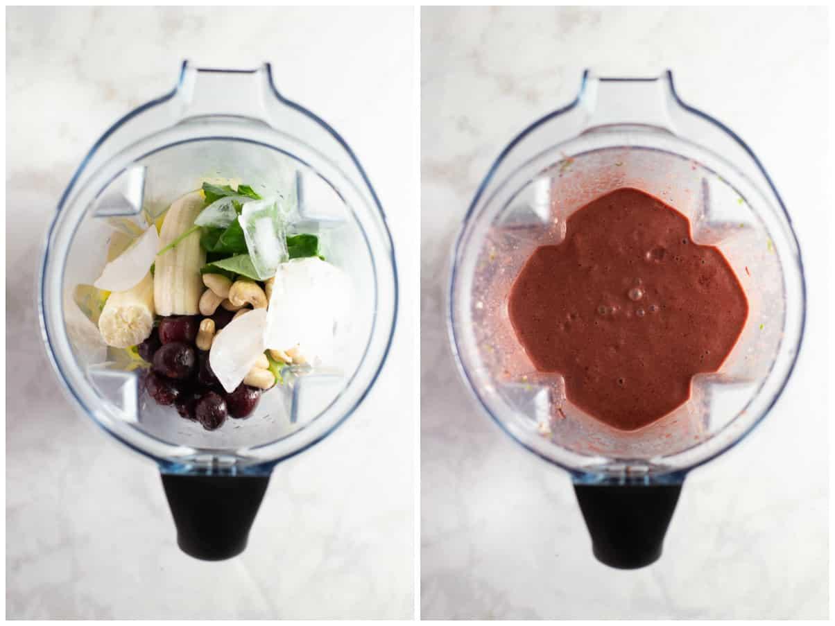 blended smoothie in a blender bowl