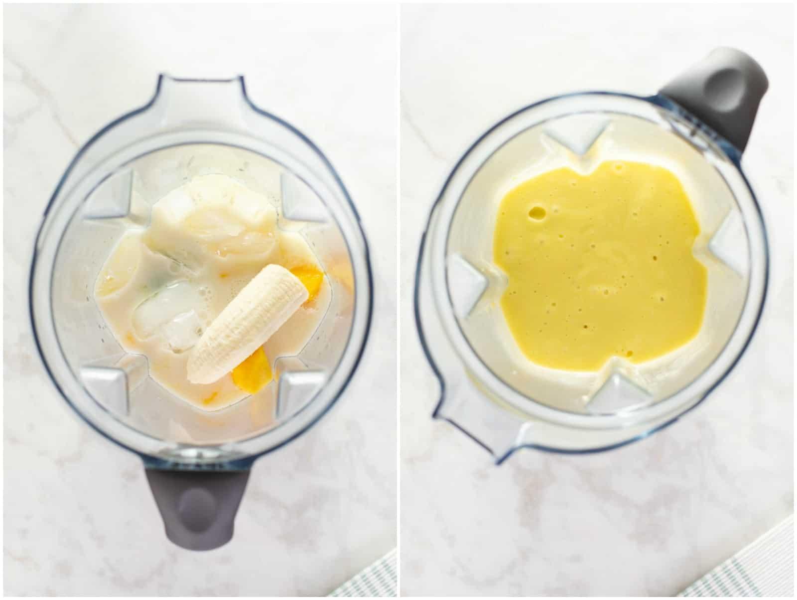 blending mango smoothie until smooth