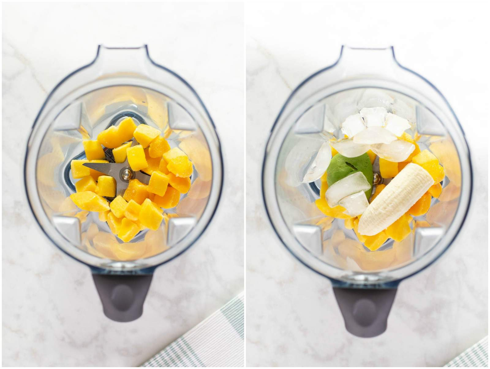 adding ingredients for smoothie to blender