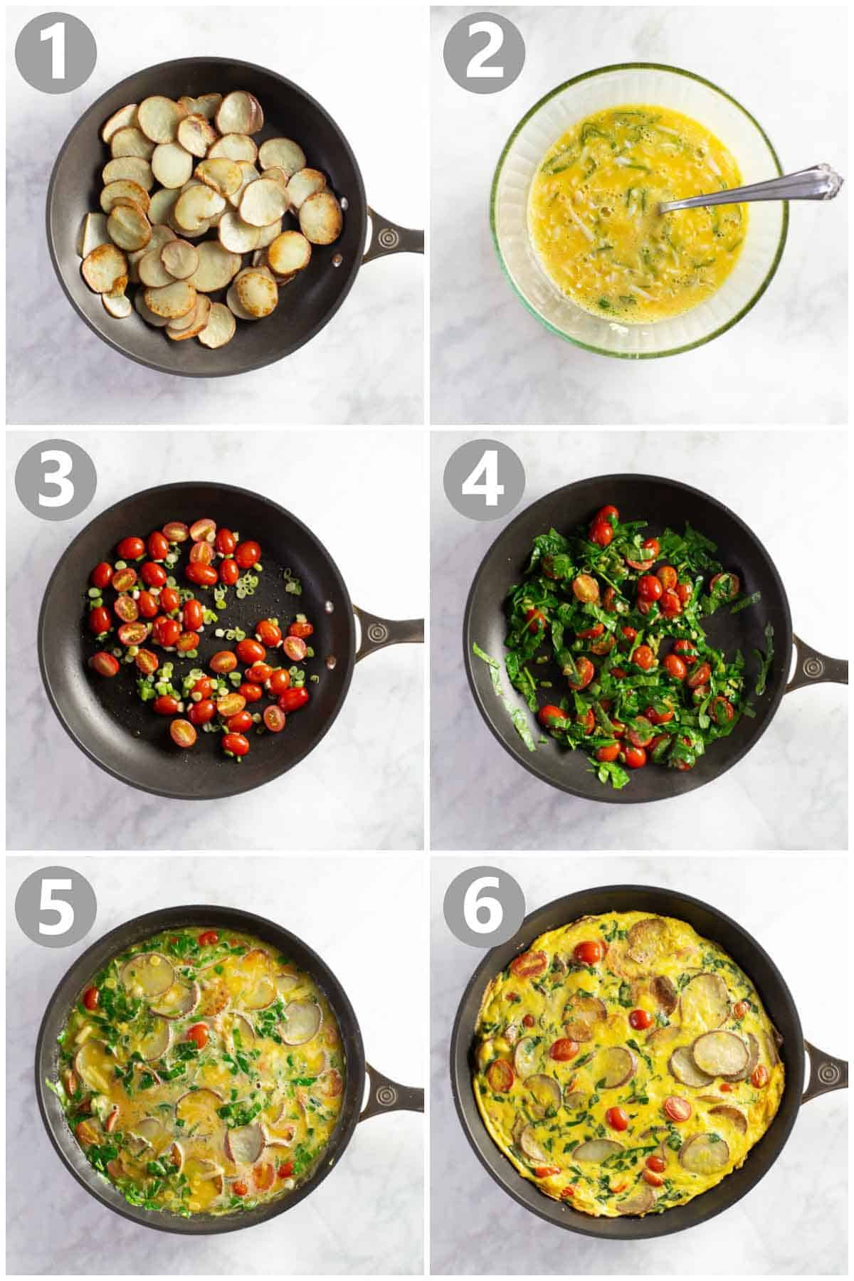 6 step by step photos show how to make a baked egg dish