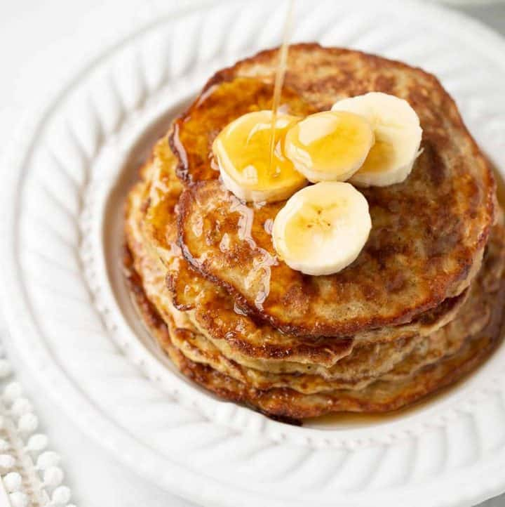 close up shot of banana pancakes