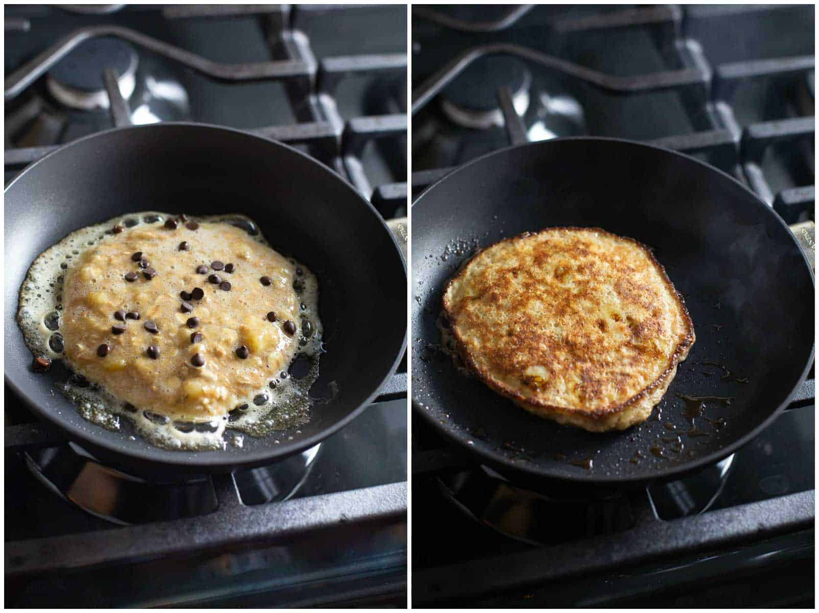 cooking banana pancakes in pan