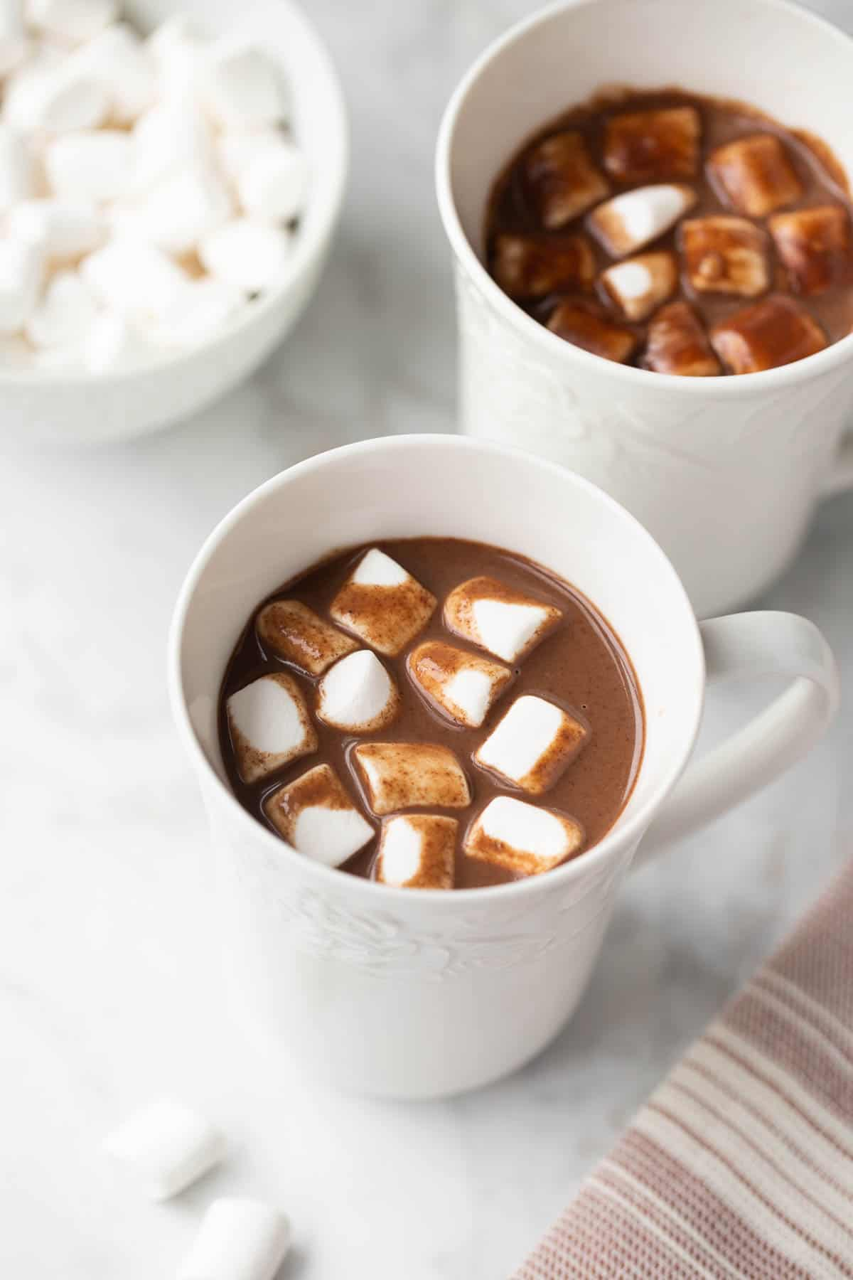 Dairy-Free Hot Chocolate with marshmallows in mug