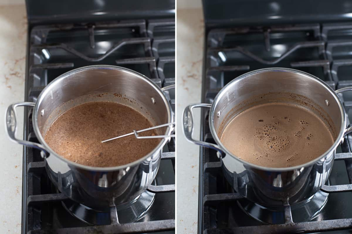 stirring and heating dairy-free hot chocolate