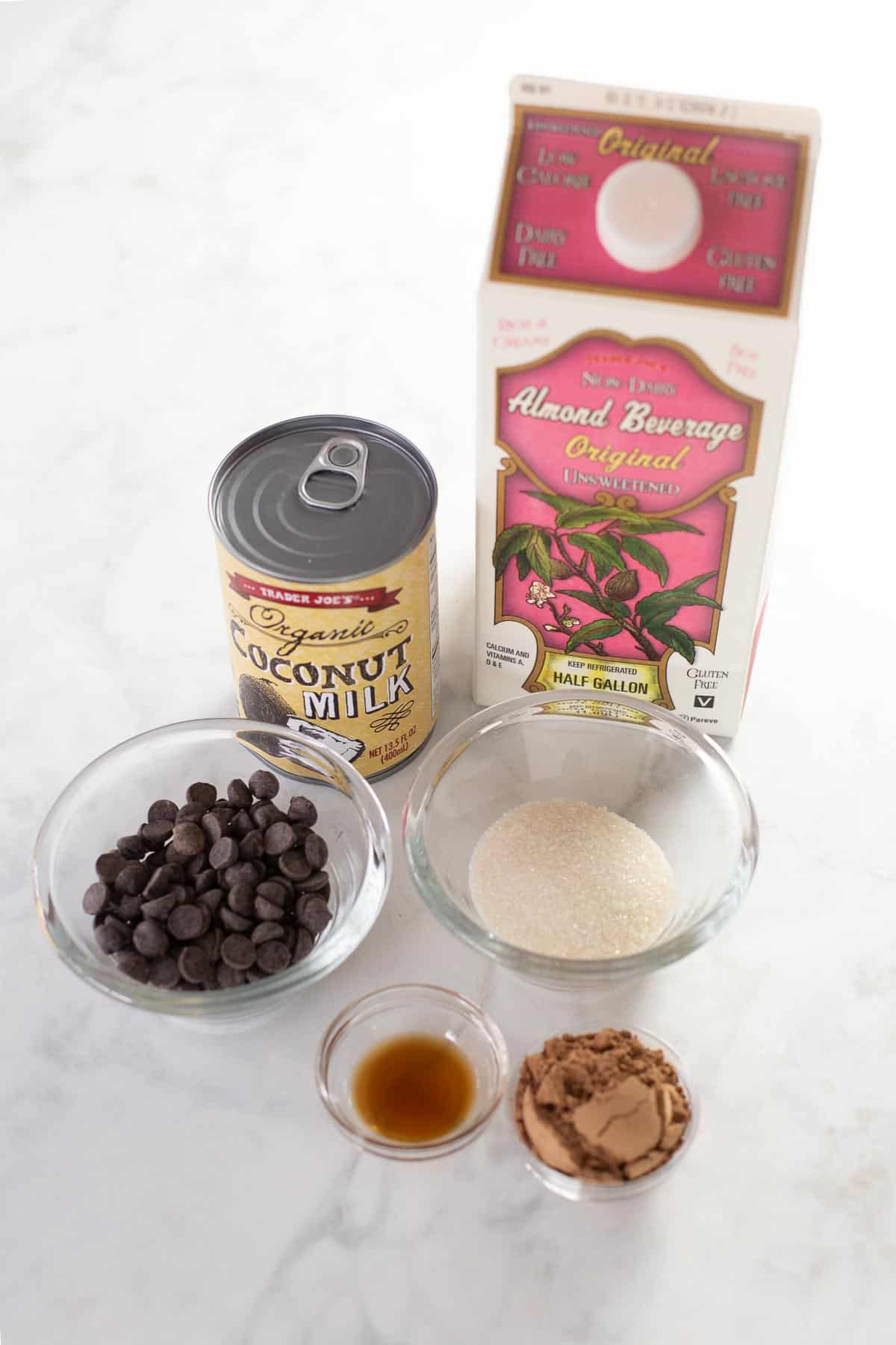 ingredients for dairy-free hot chocolate