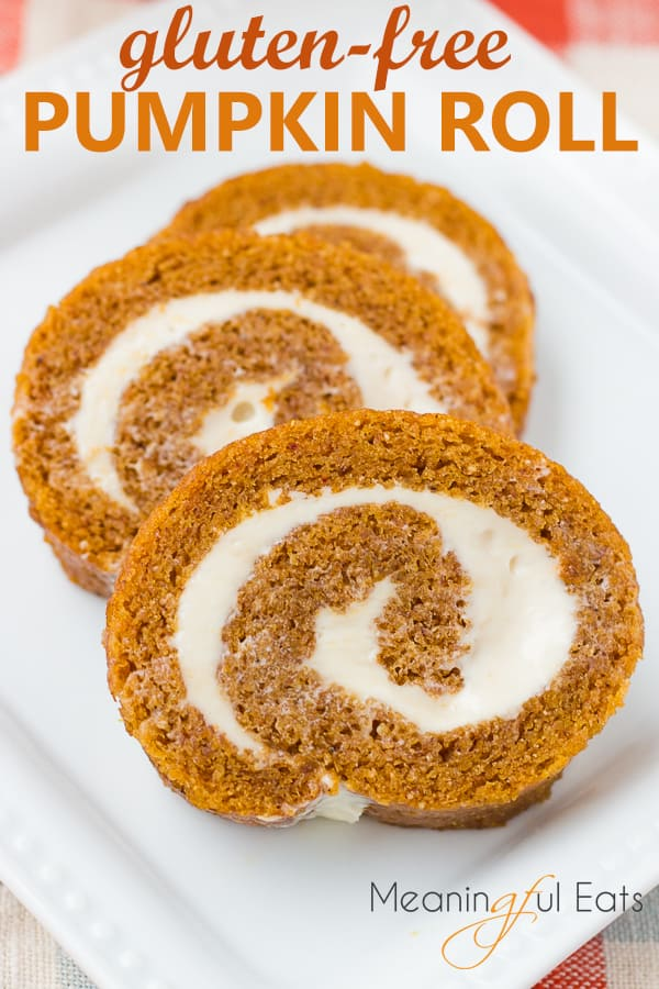 image for pinterest of sliced pumpkin roll on white plate