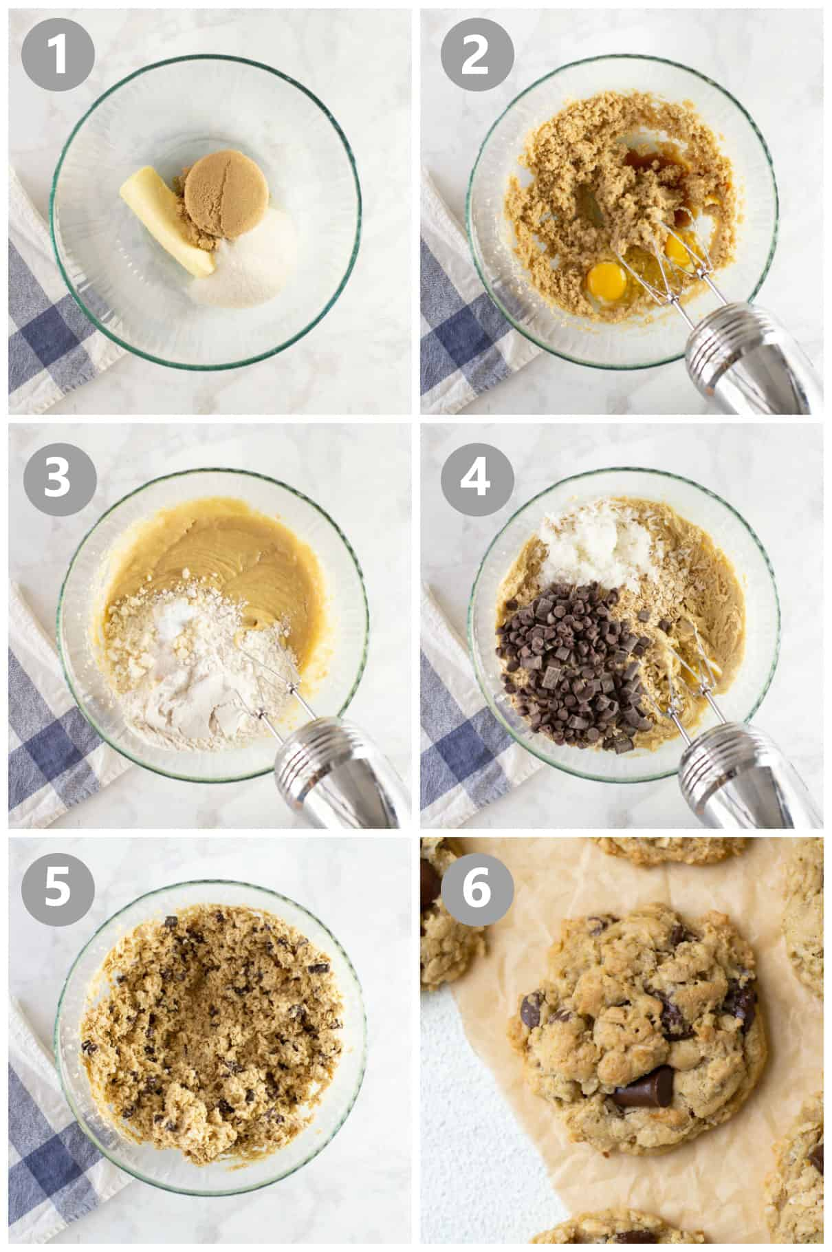 steps for how to make gluten-free oatmeal chocolate chip cookies