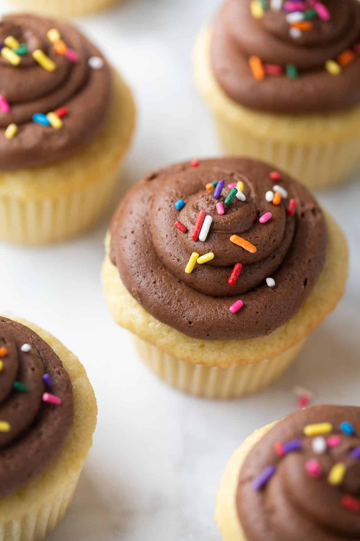 close up shot of gluten free vanilla cupcakes with sprinkles