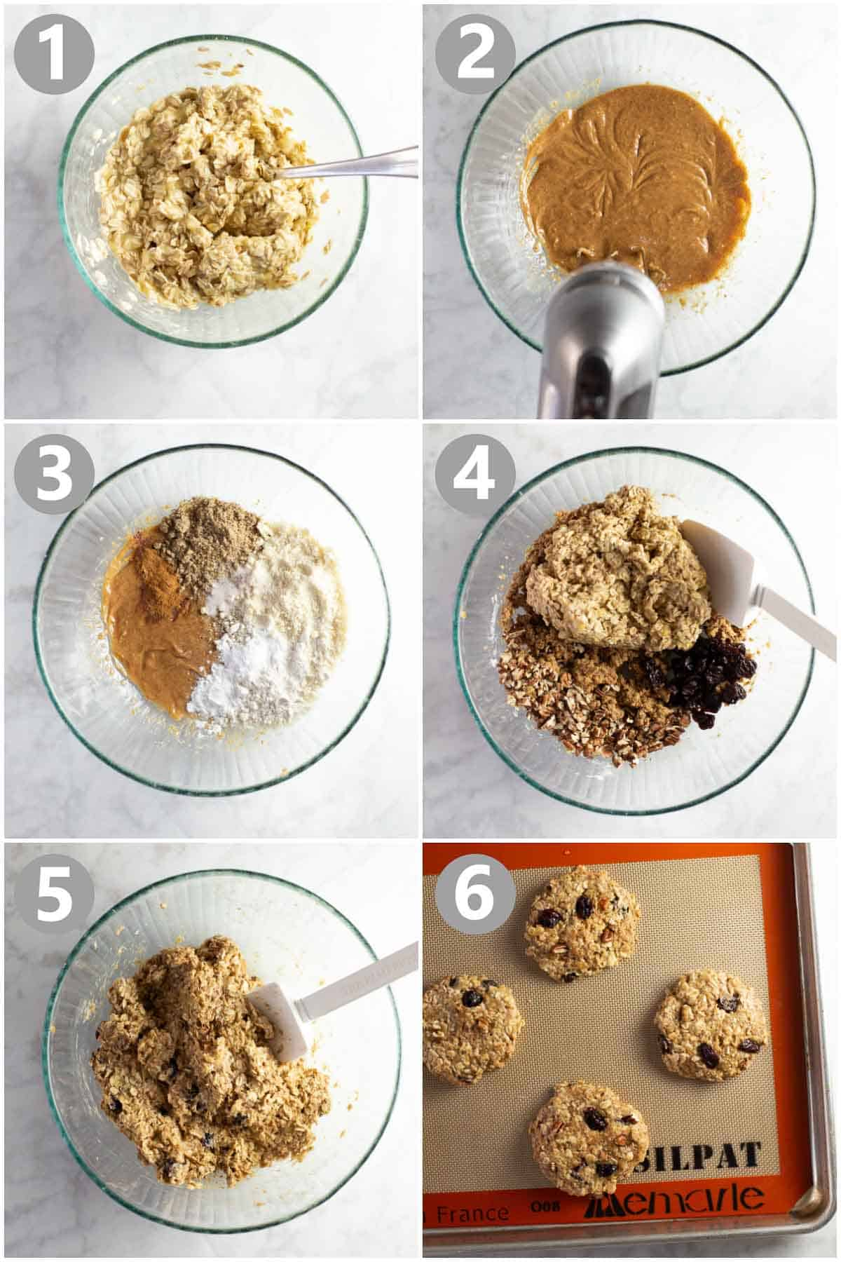 photo collage shows steps in making a banana cookie recipe