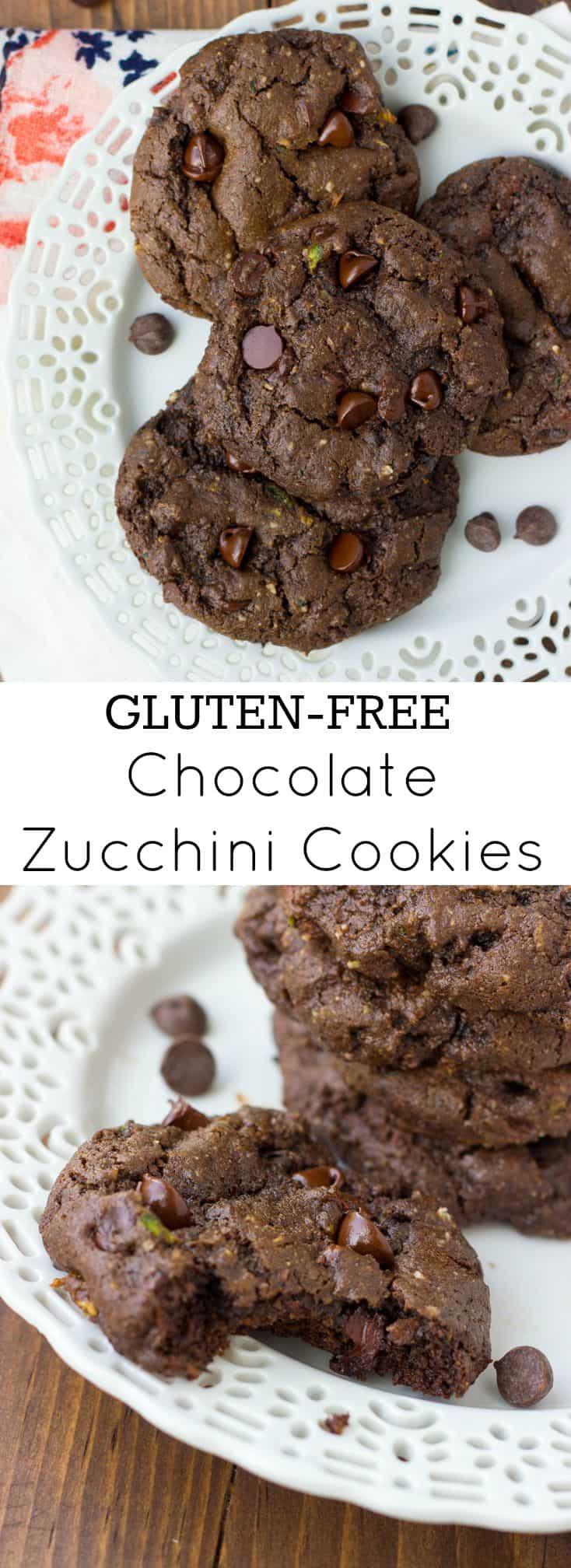 Gluten-Free Triple Chocolate Zucchini Cookies! Fudgey, rich and chocolatey. {Dairy-Free}