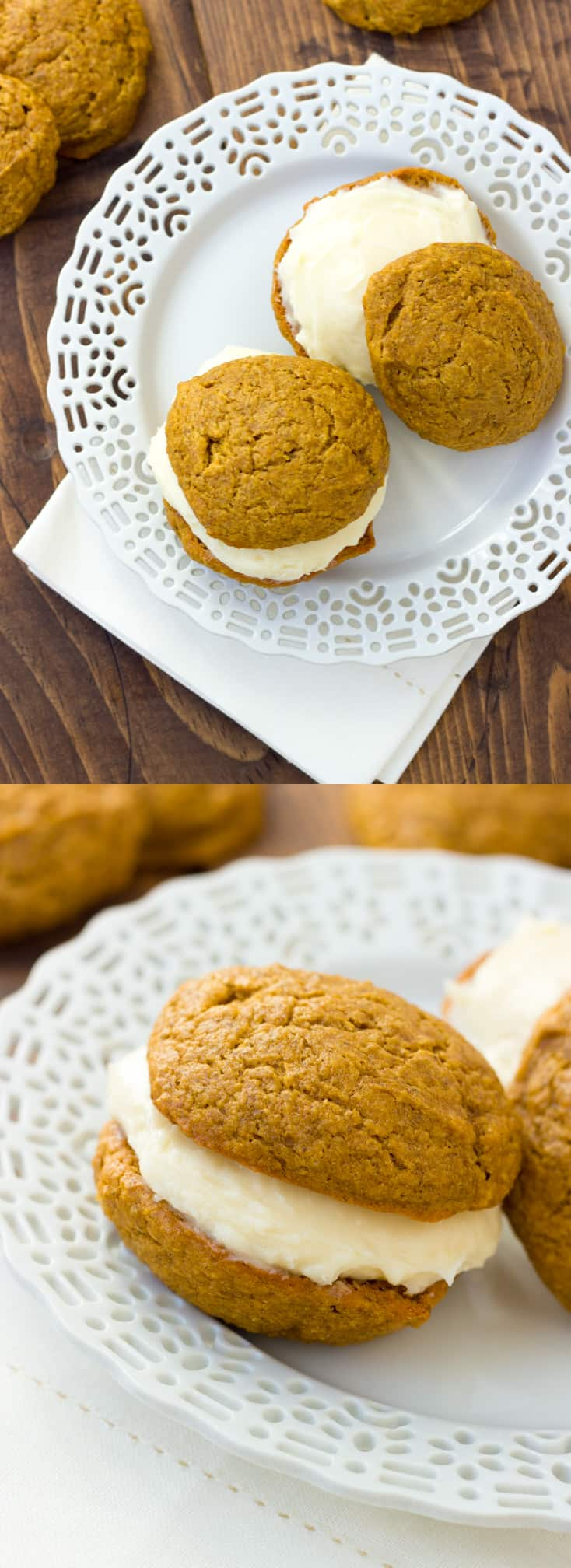 Gluten-Free Pumpkin Whoopie Pies! Two moist, spiced pumpkin cookies filled with thick cream cheese frosting. A fall favorite! (Dairy-Free Option)