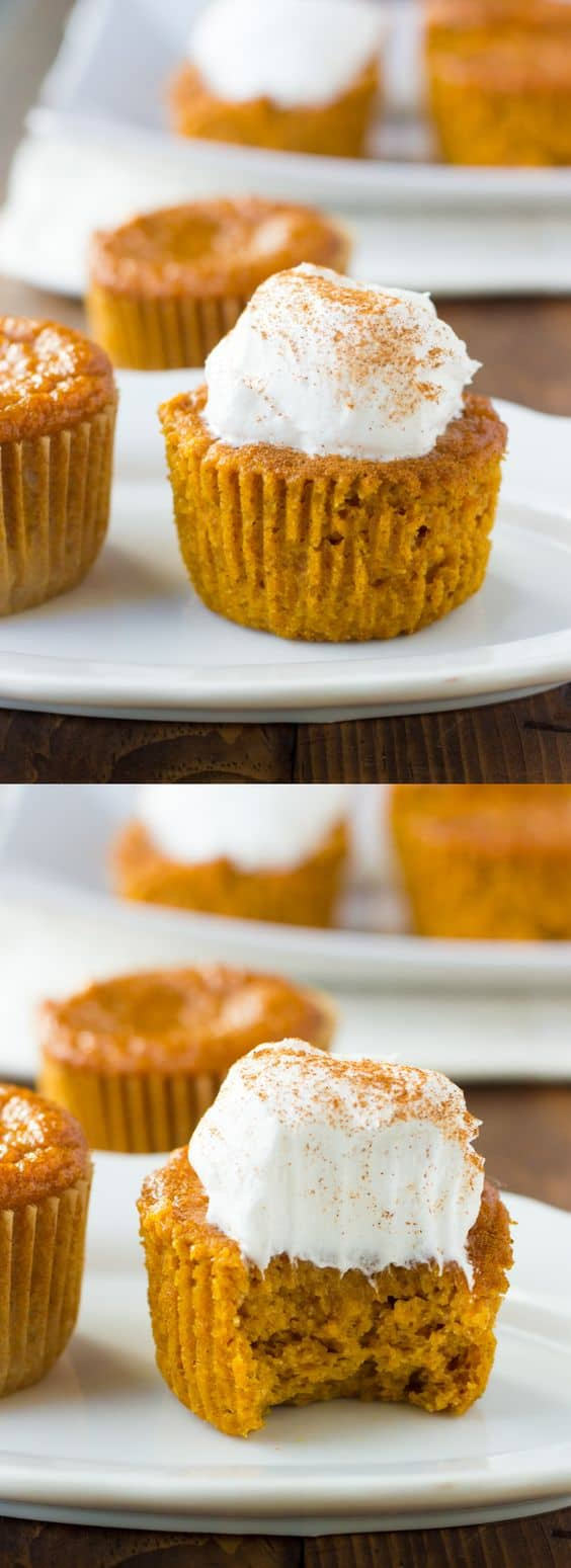 image for pinterest close up shot of pumpkin pie cupcakes with bite taken