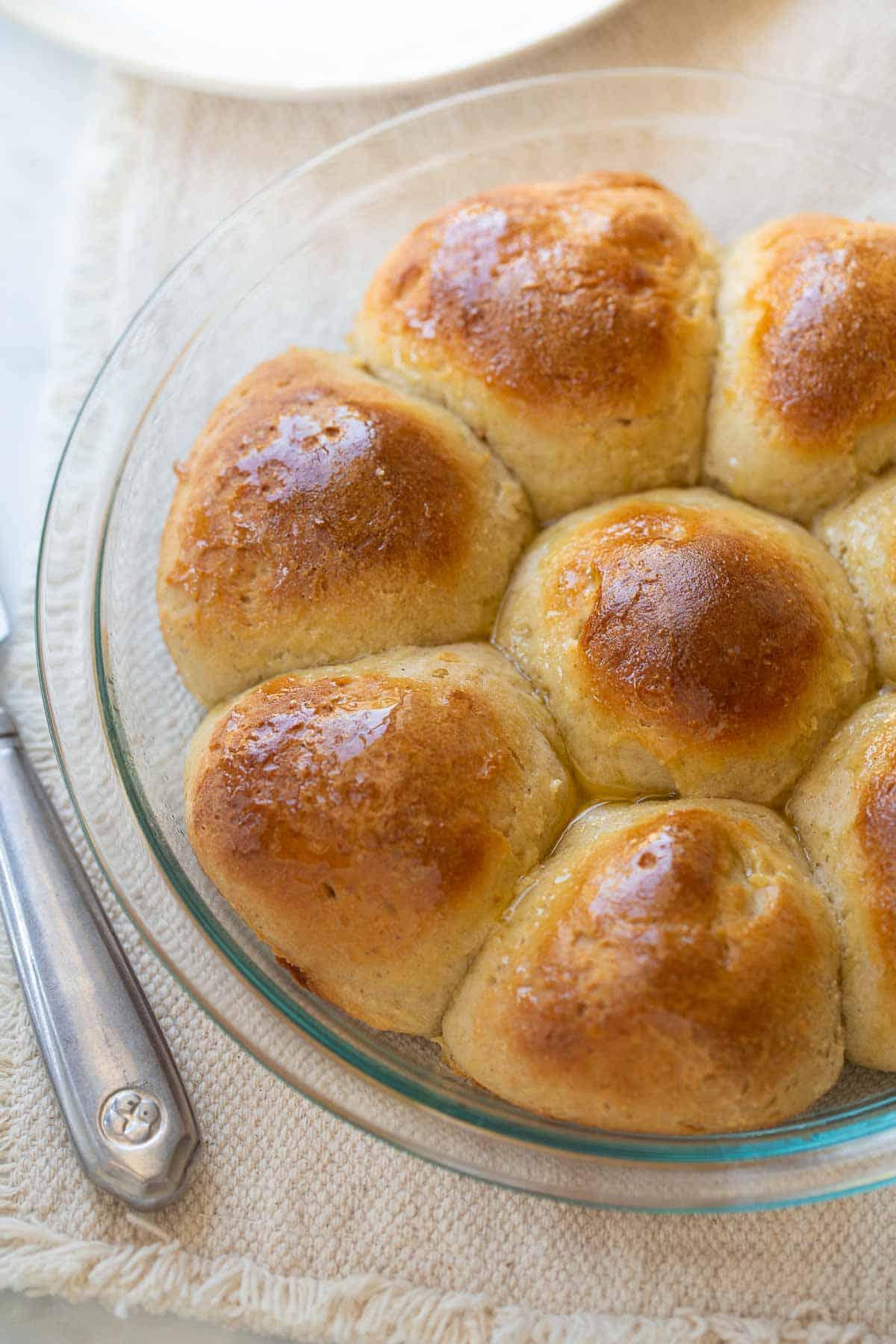 gluten-free rolls in baking pan