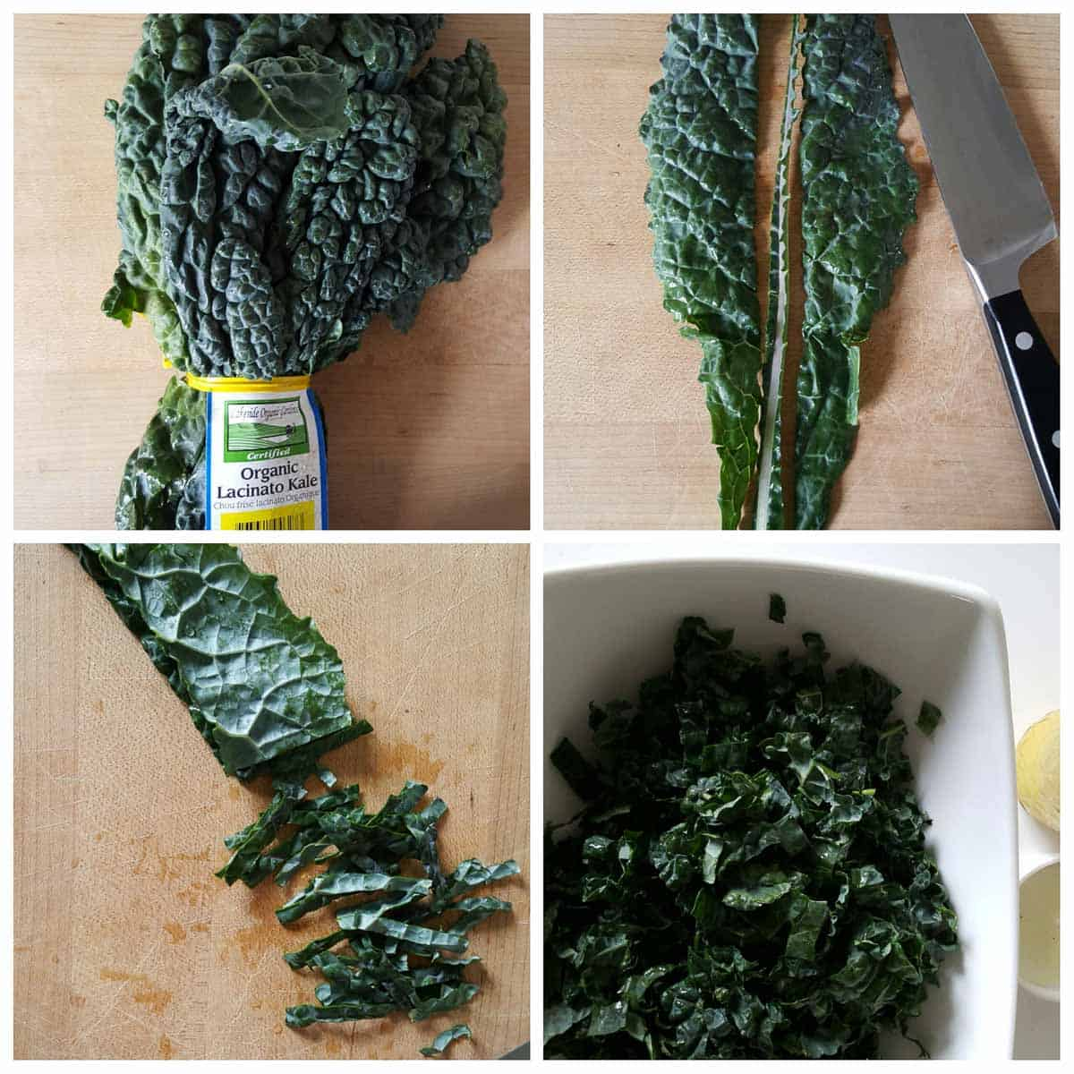 step-by-step instructions for how to cut up kale for salad