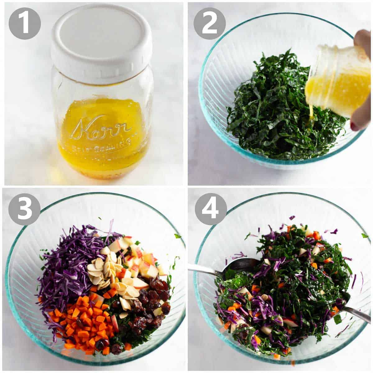 step-by-step instructions for how to make kale salad