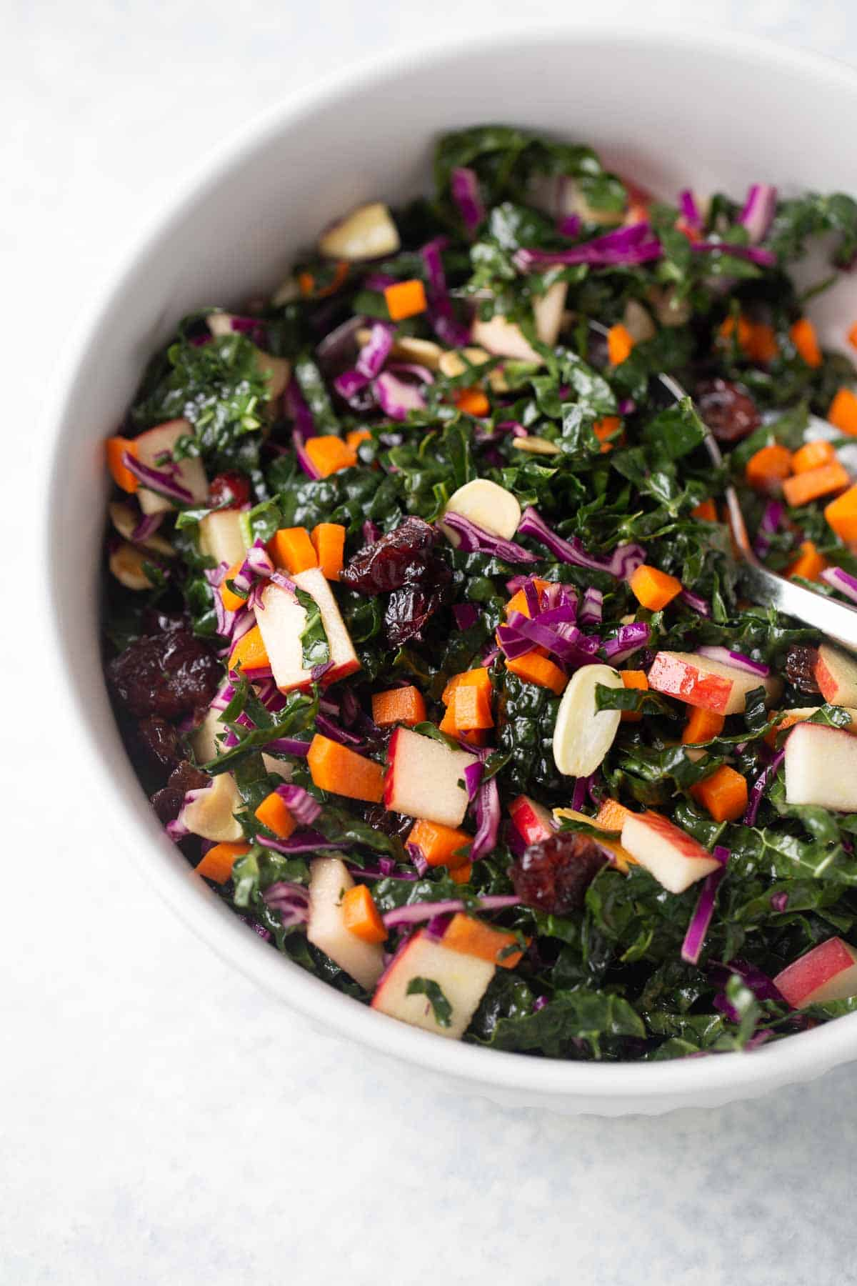 Kale Salad with Cranberries in a serving bowl