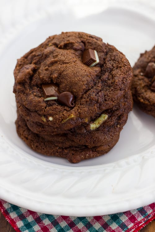 Gluten-Free Double Chocolate Mint Cookies! Soft, decadent and rich. (Dairy-Free Option)