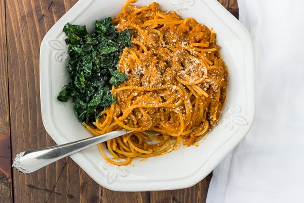 Creamy Pumpkin Spaghetti with Spicy Turkey and Garlic Kale! An irresistibly delicious 30-minute meal. (Gluten-Free, Dairy-Free Option)