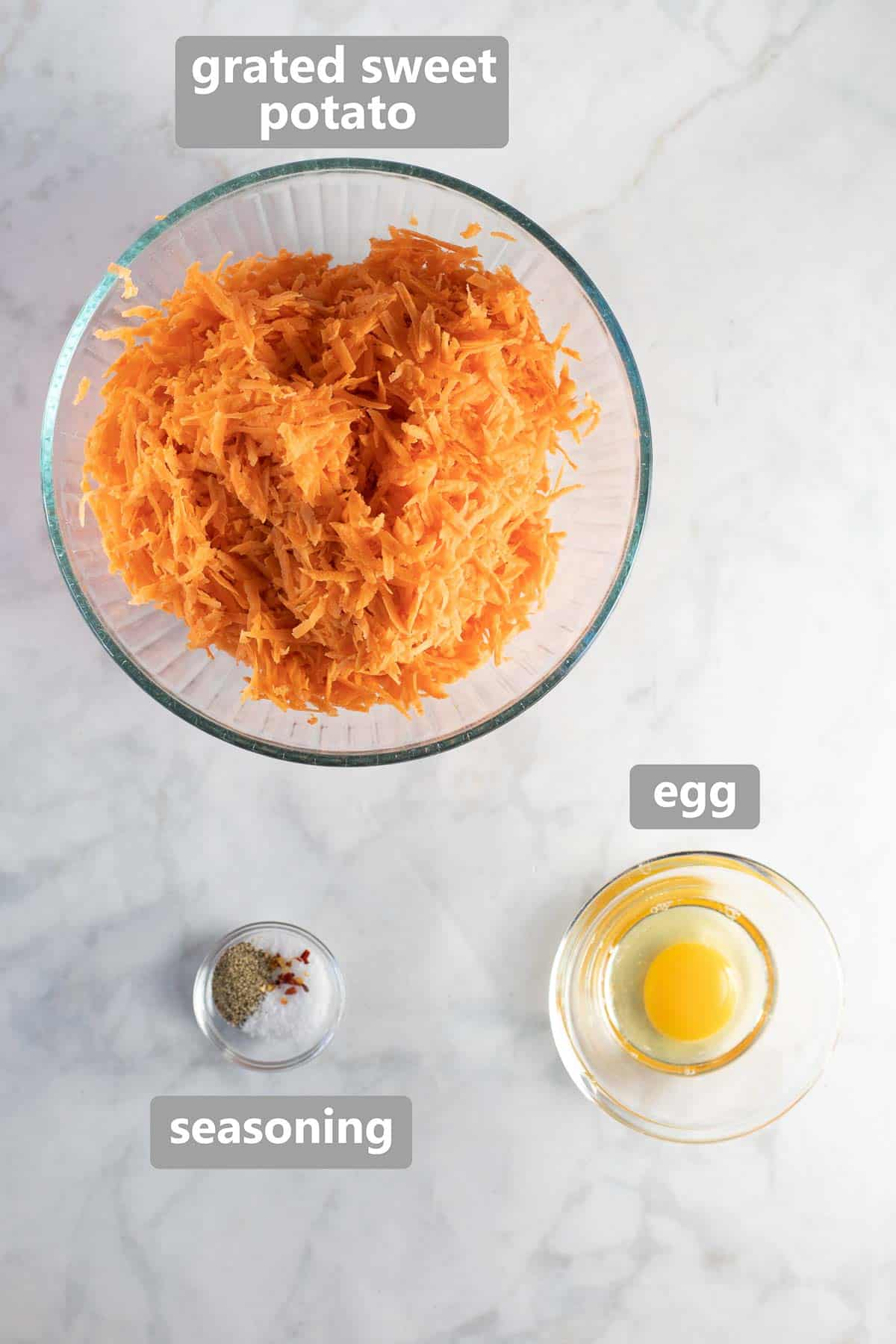 labeled ingredients for sweet potato crust in bowls