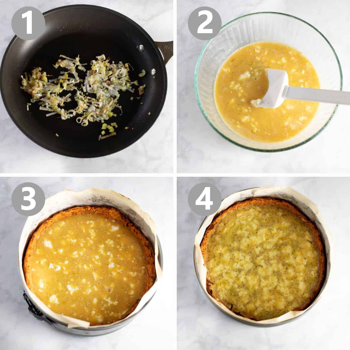 step by step photos of how to make sweet potato crusted quiche