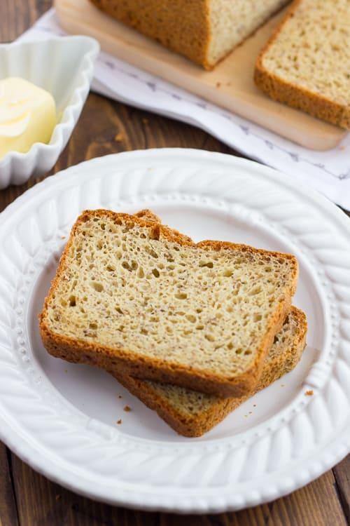 Gluten-Free Sandwich Bread sliced on plate