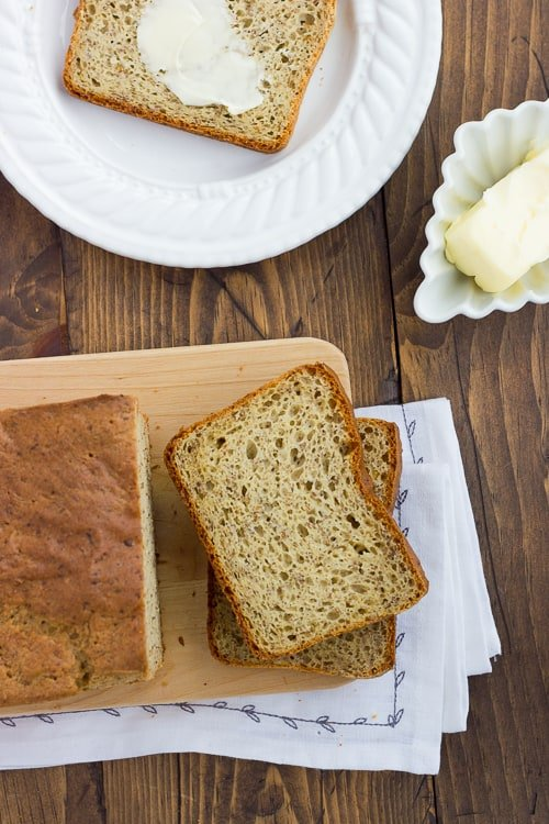 overhead shot of bread recipe on a cutting board