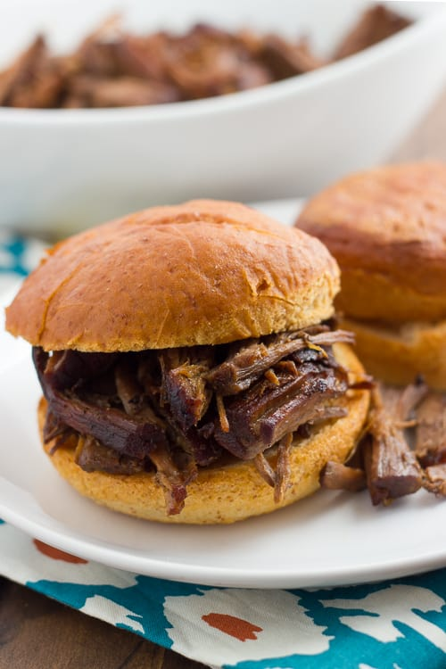 Slow-Cooker Balsamic Roast Beef! Amazingly tender, savory roast beef easily made in the slow-cooker with just 10 min prep. Delicious as pot roast or as a French-dip type sandwich! (Gluten-Free) #glutenfree #slowcooker