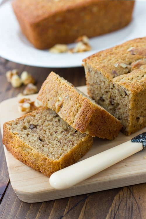 Gluten-Free Maple-Syrup-Sweetened Banana Bread! Made with nutritious buckwheat flour and almond flour. {Dairy-Free}