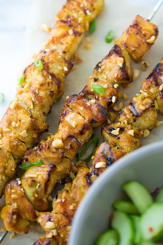Thai Chicken Skewers with Peanut Sauce {Gluten-Free, Dairy ...