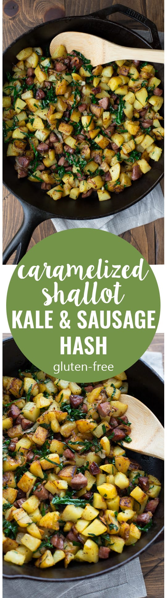 Need something to do with all the sausages you bought at Costco? Make this healthy and satisfying Caramelized Shallot, Kale & Sausage Hash! (Gluten-Free)