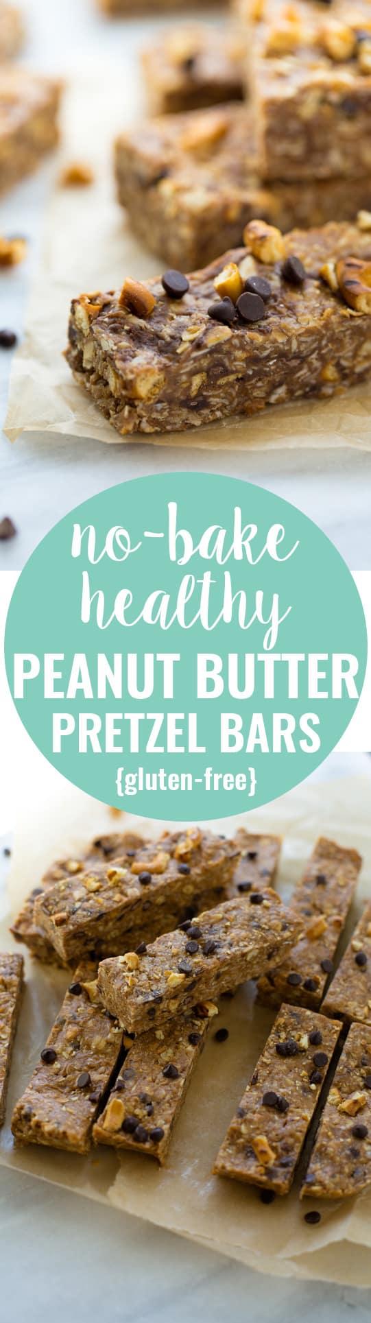 No-Bake, Healthy Peanut Butter Pretzel Bars! Honey-sweetened and so easy to make. (Gluten-Free)