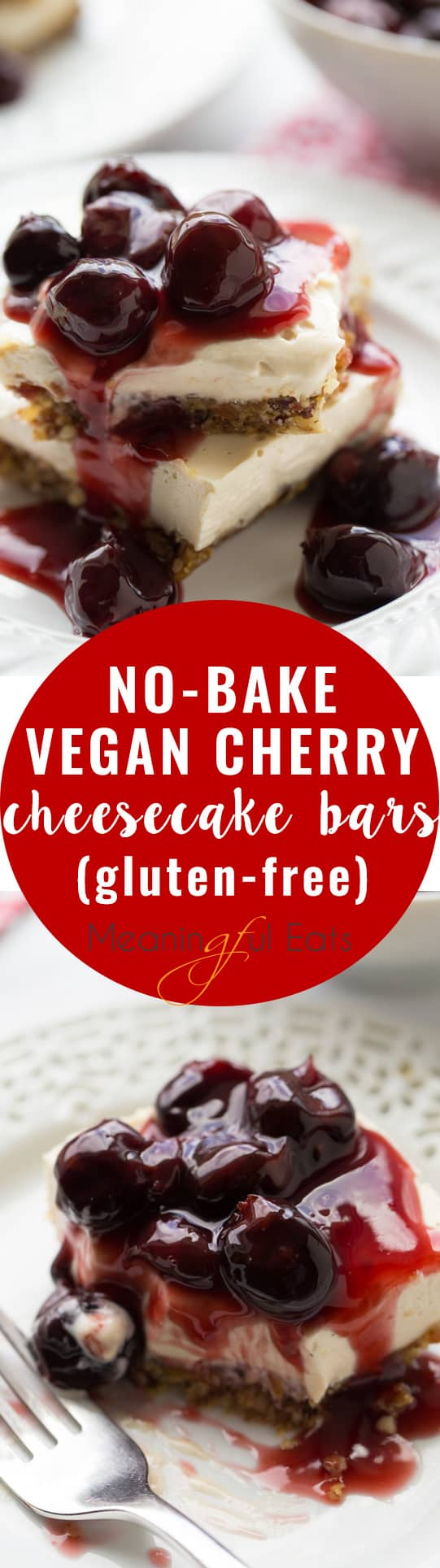 No-Bake Vegan Cherry Cheesecake Bars! So delicious you'd never guess they are dairy free! (Gluten-Free)
