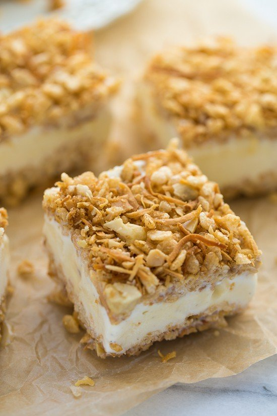 Ice Cream Crunch Bars! Also called I Scream Bars! Any ice cream you liked topped with a toasty crispy coconut, crispy rice, cashew topping. Easy to make and so delicious!