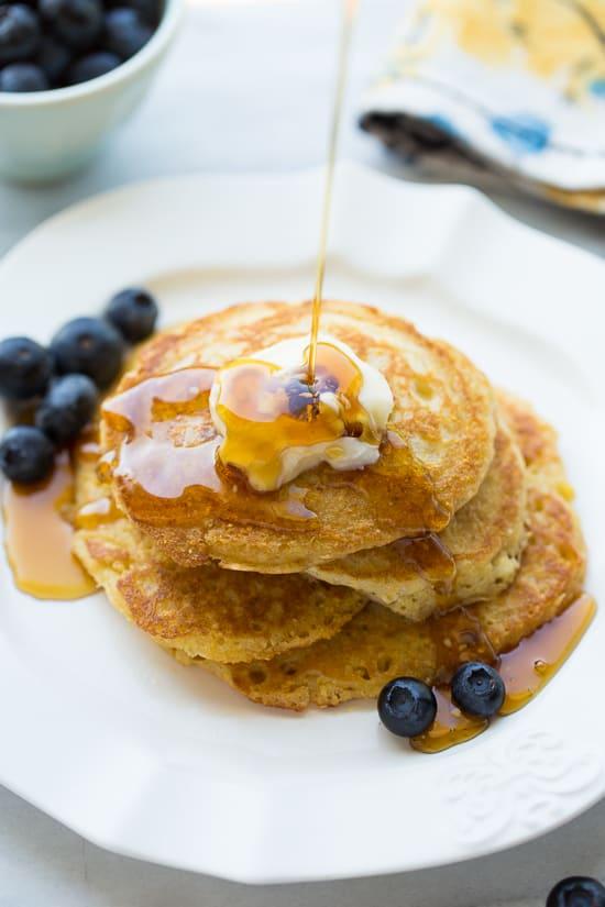 Gluten-Free Cornmeal Sour Cream Pancakes! Delicious flavor and texture!