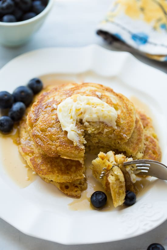 Gluten-Free Cornmeal Sour Cream Pancakes! Delicious flavor and texture!