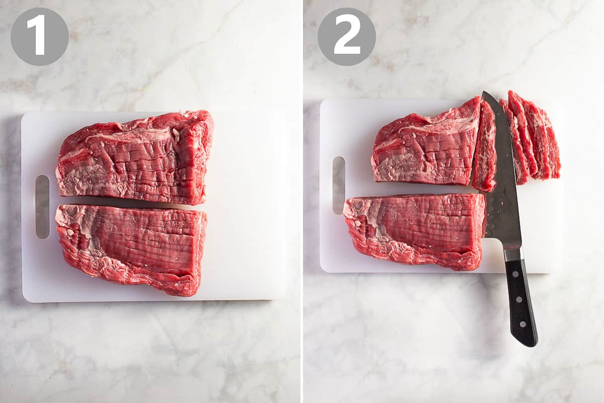 step-by-step photos show how to cut a flank steak