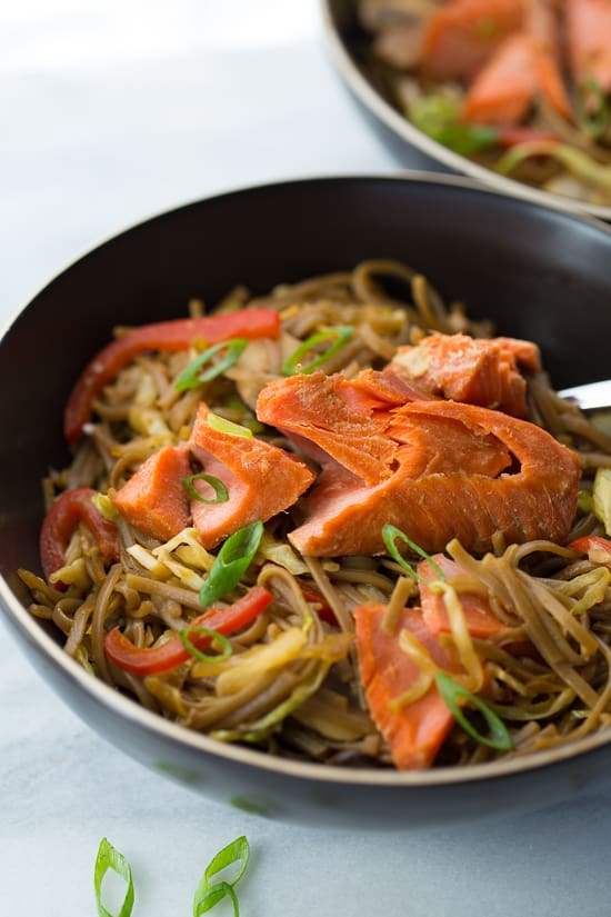 Honey Lime Salmon with Soba Noodle Stir-Fry! A healthy, light and flavorful meal that will leave you feeling great. Gluten/Dairy-Free!