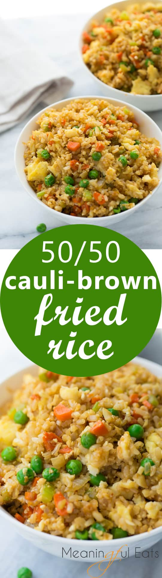 50/50 Cauli-Brown Rice Fried Rice! An easy fried rice made of 1/2 cooked brown rice and 1/2 cauliflower rice. One of my go-to healthy dinners! Easy, kid-friendly, yummy.