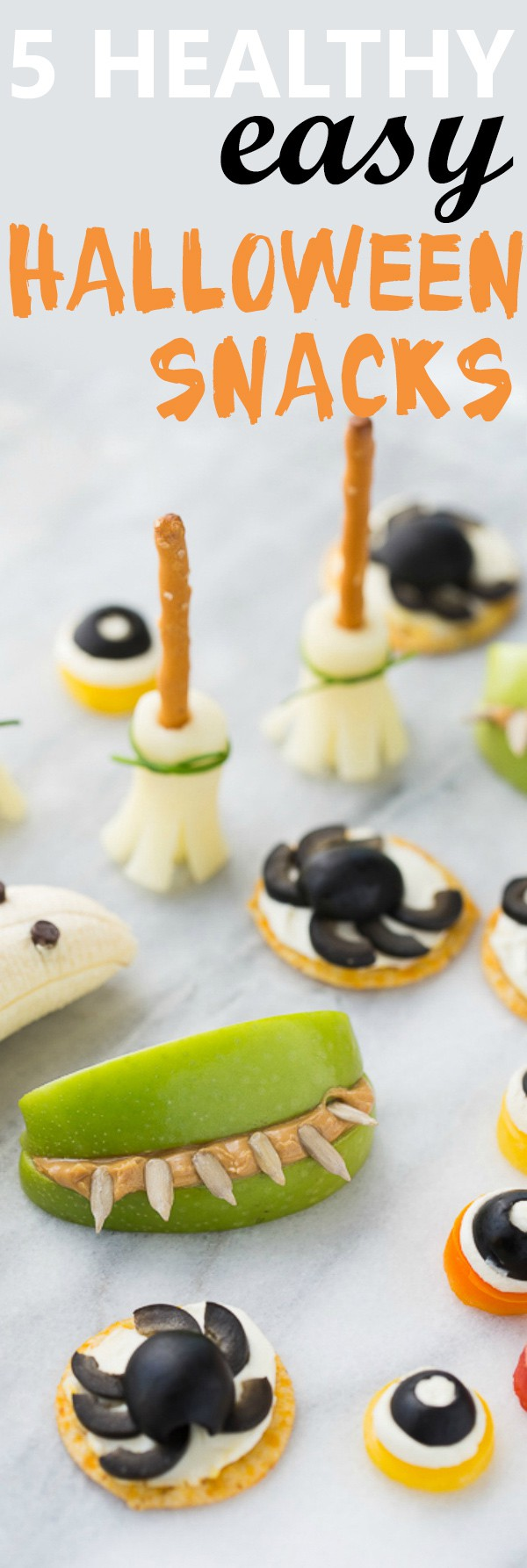 5 Easy Healthy Halloween Snacks! So fun for kids and class parties. Made with ingredients you already have and easily gluten-free!