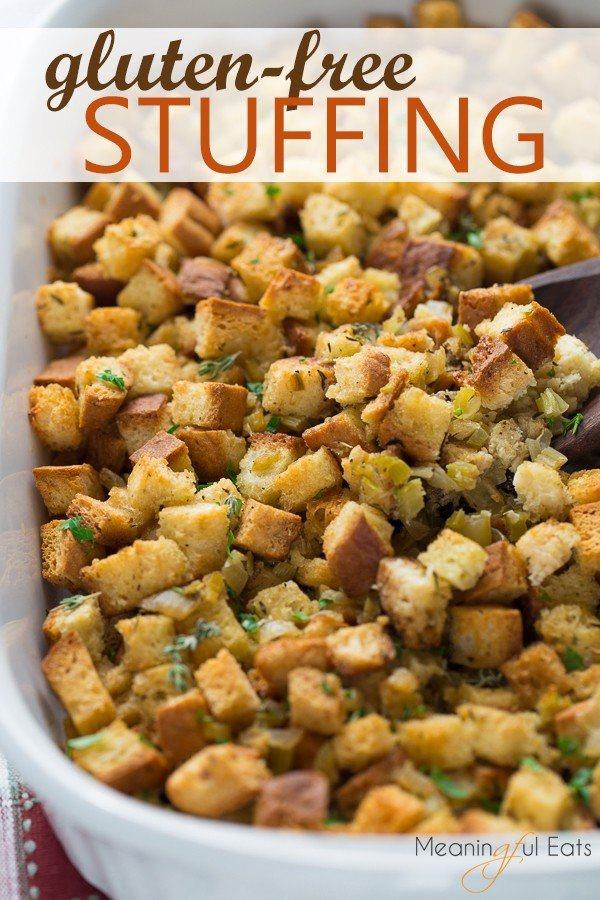 image for pinterest of gluten-free stuffing in white casserole dish