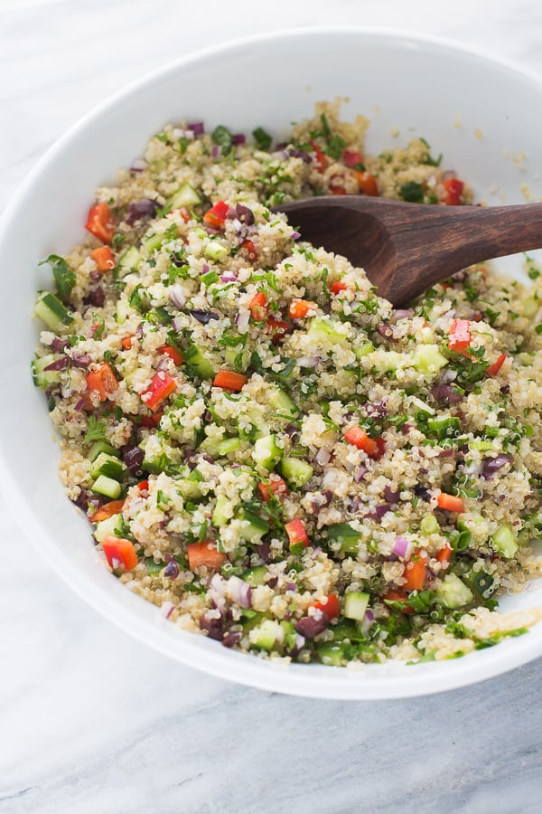 Make-Ahead Quinoa Salad with Lemon Pepper Salmon! An easy, meal-prep lunch that is full of veggies and healthy fats. (Gluten-Free, Dairy-Free)