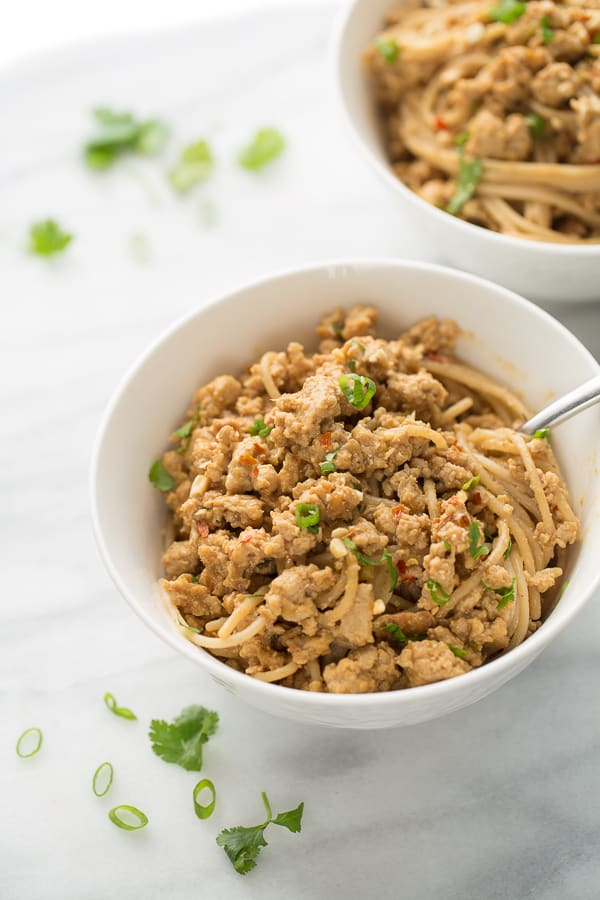 Gluten-Free Dan Dan Noodles! A 20-minute, kid-friendly dinner that is perfect for busy weeknights!