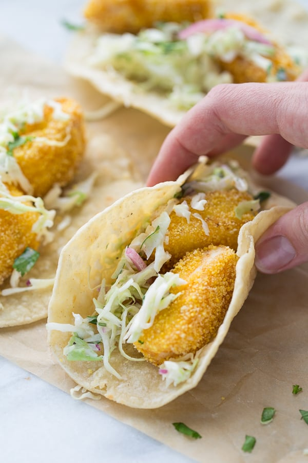 Gluten-Free Fish Tacos! Crispy, flavorful and easy to make! (Dairy-Free)