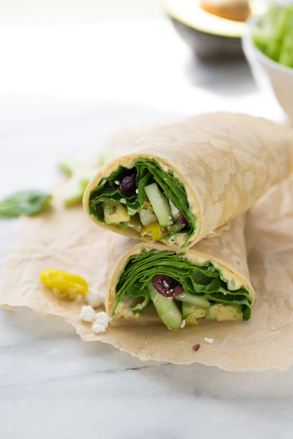 vegetarian wraps filled with healthy veggies