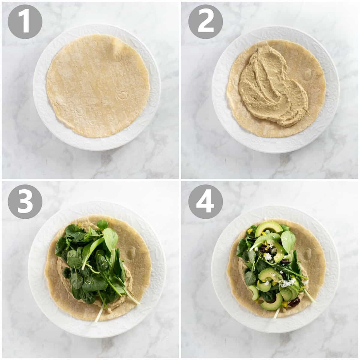 step by step photo collage shows how to make a hummus wrap with Mediterranean vegetables
