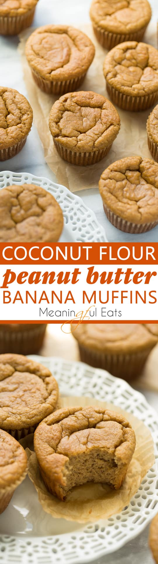 Coconut Flour Peanut Butter Banana Muffins! Easy, protein-rich muffins with a light and fluffy texture. Melt in your mouth delicious! (Gluten-Free)