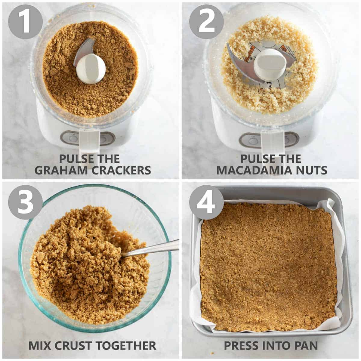 step by step photo collage shows how to make a gluten free and dairy free graham cracker crust