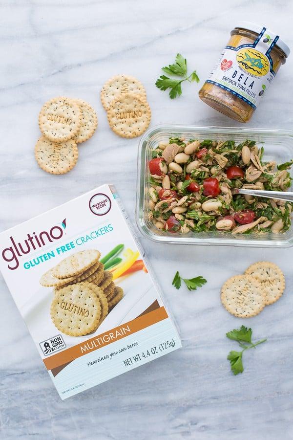 glutino crackers and tuna salad on marble background