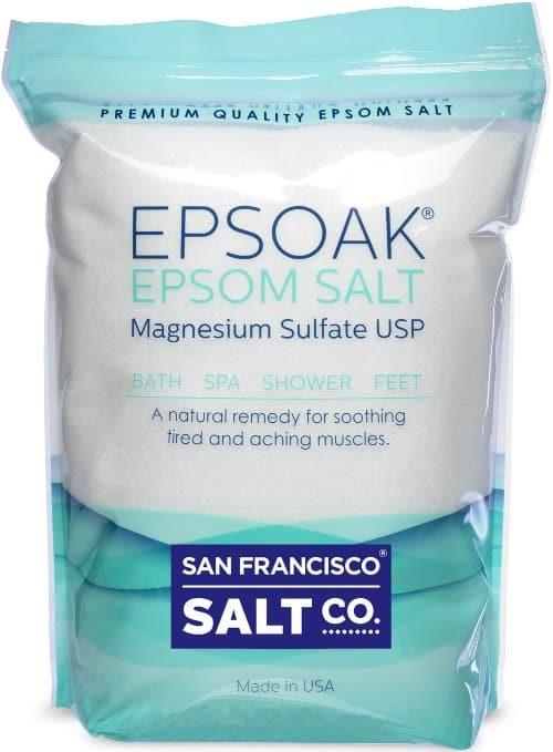 blue and white bag of epsom salt
